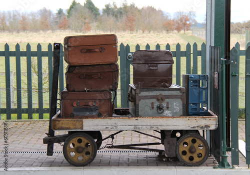 Vintage Cases on a Traditional Railway Luggage Trolley.