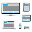 Modern responsive computer laptop tablet and smartphone vectors