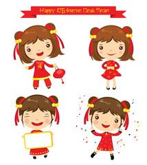 Cartoon Chinese Girl, Happy Chinese New Year