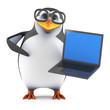 Academic penguin with laptop