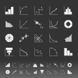 Set of diagram and graph icons on gray background