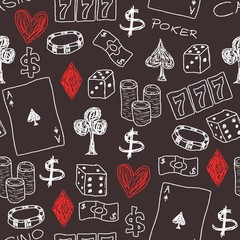 Casino - gambling doodle background
