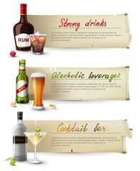 Banners with alcoholic drinks