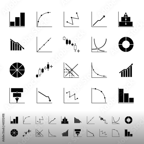 Set of diagram and graph icons on white background