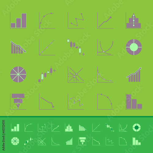 Set of diagram and graph color icons