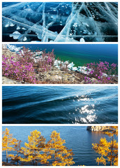 Collage. Water backgrounds of four seasons. Сalendar
