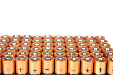 gold batteries in rows