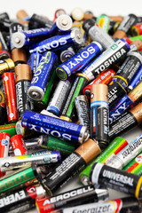Different types of used batteries ready for recycling