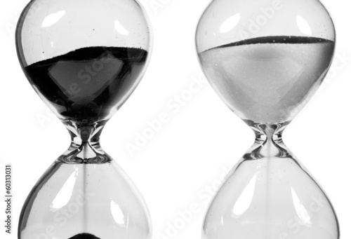 Hourglasses on the white background