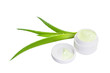 Jar of cream and aloe leaves. Isolate on white background