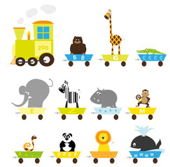 zoo train with wild animals - big set - vector illustration