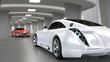 zwei Wagen in futuristischer Garage