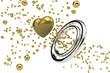 指輪とハートのオブジェ