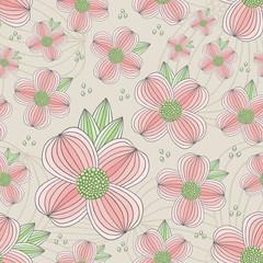 Seamless Dogwood Blossom Pattern