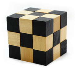 Cube puzzle in the form of wooden blocks isolated