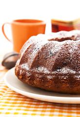 Homemade bundt cake on the plate
