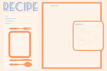Vector retro recipe card layout