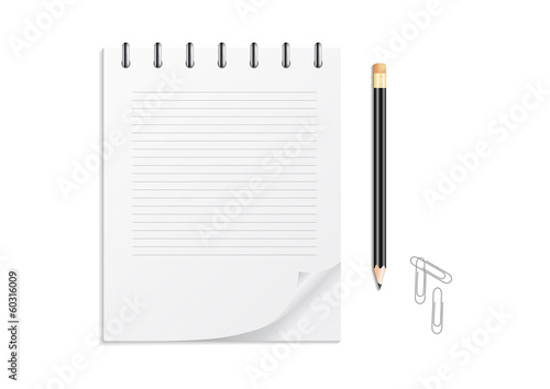 Notebook, pencil and clips