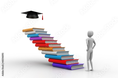 3d graduate with books and graduation hat