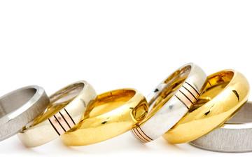 Row of various rings