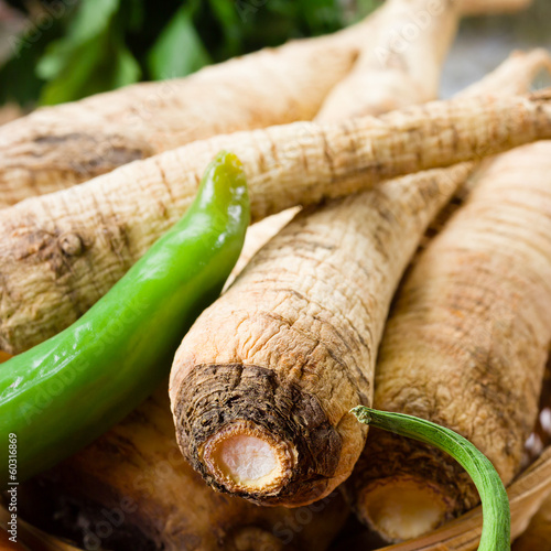 Parsley root. Organic vegetable