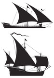 Galley and Caravel Ship silhouettes
