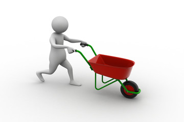 3d man with wheel barrow