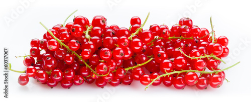 Red currant. Heap of berries on stem isolated on white