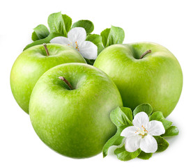 Green apples with leaves and flowers on white background