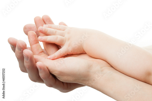 Family concept.Three hands of the family on white background