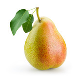 Fototapety Pear with leaf isolated on white background