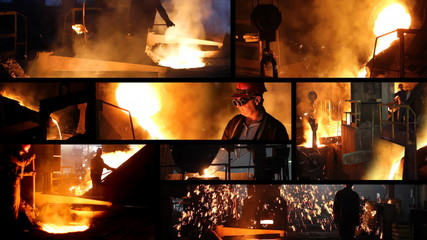 Working in a foundry, steel mill