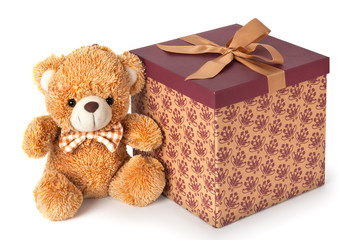 Teddy bear with gift on white background