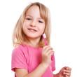 canvas print picture - lachendes Kind mit Zahnbürste