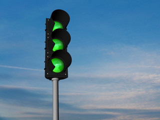 Traffic lights, all green