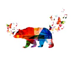 Colorful vector bear background