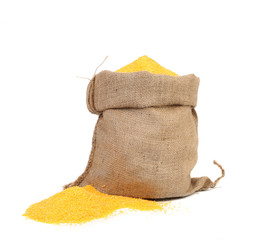 Closeup of sack with corn flour.
