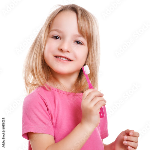 canvas print picture lachendes Kind mit Zahnbürste