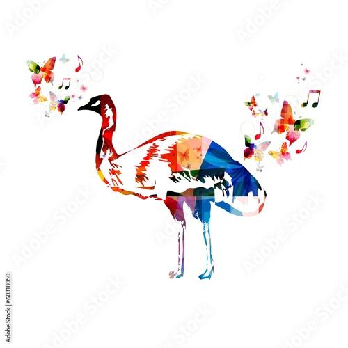Deurstickers Geometrische dieren Colorful vector emu background