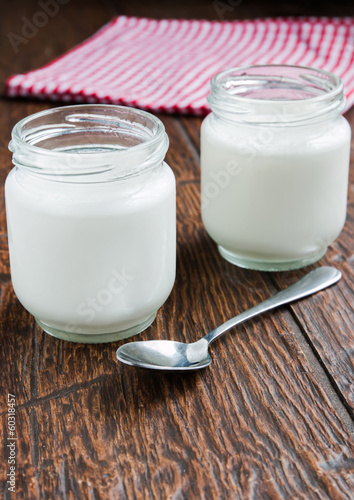 Jars of fresh yogurt