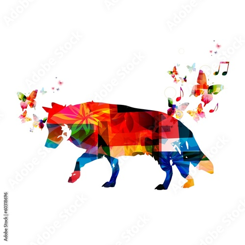 Colorful vector wolf background