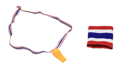 Thai flag wristband and yellow whistle