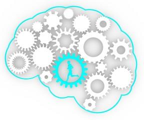 Cervello corpo umano ingranaggi idee uomo che corre