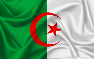 Flag of Algeria waving with silky look