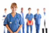 Nurse in front of her medical team - 60321257