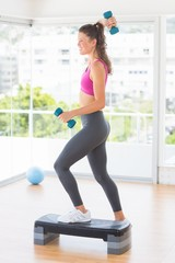 Fit woman performing step aerobics exercise with dumbbells