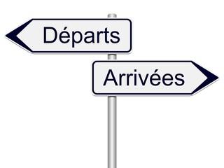 Panneaux directions départs, arrivées