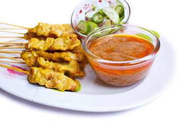 Grilled Pork Satay with Peanut Sauce and Vinegar.