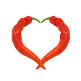 Heart composed of red chili peppers