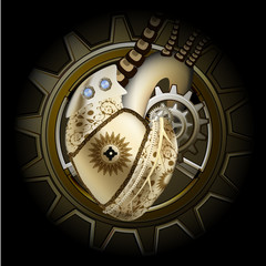 Steam punk golden mechanical heart illustration